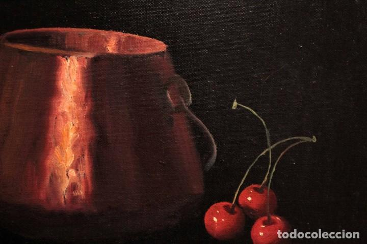 Arte: Soler. Oleo sobre lienzo. Bodegón de cerezas y caldera. Firmado y enmarcado. 53x45cm - Foto 6 - 243382085