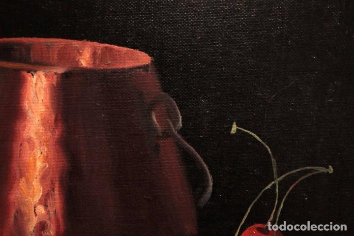 Arte: Soler. Oleo sobre lienzo. Bodegón de cerezas y caldera. Firmado y enmarcado. 53x45cm - Foto 9 - 243382085