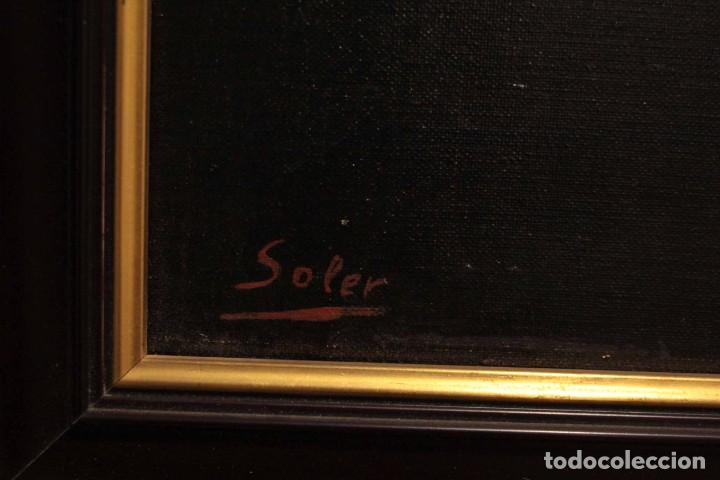 Arte: Soler. Oleo sobre lienzo. Bodegón de cerezas y caldera. Firmado y enmarcado. 53x45cm - Foto 10 - 243382085