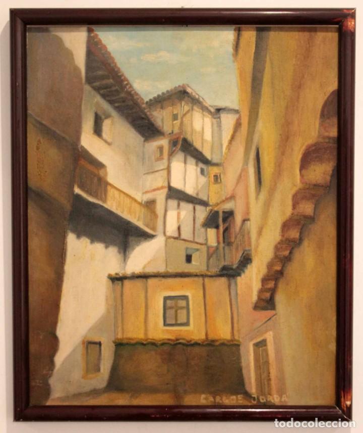 Arte: Vista de calle. Oleo sobre lienzo. Firmado Carlos Jorda. Enmarcado 48x41cm - Foto 2 - 243383290