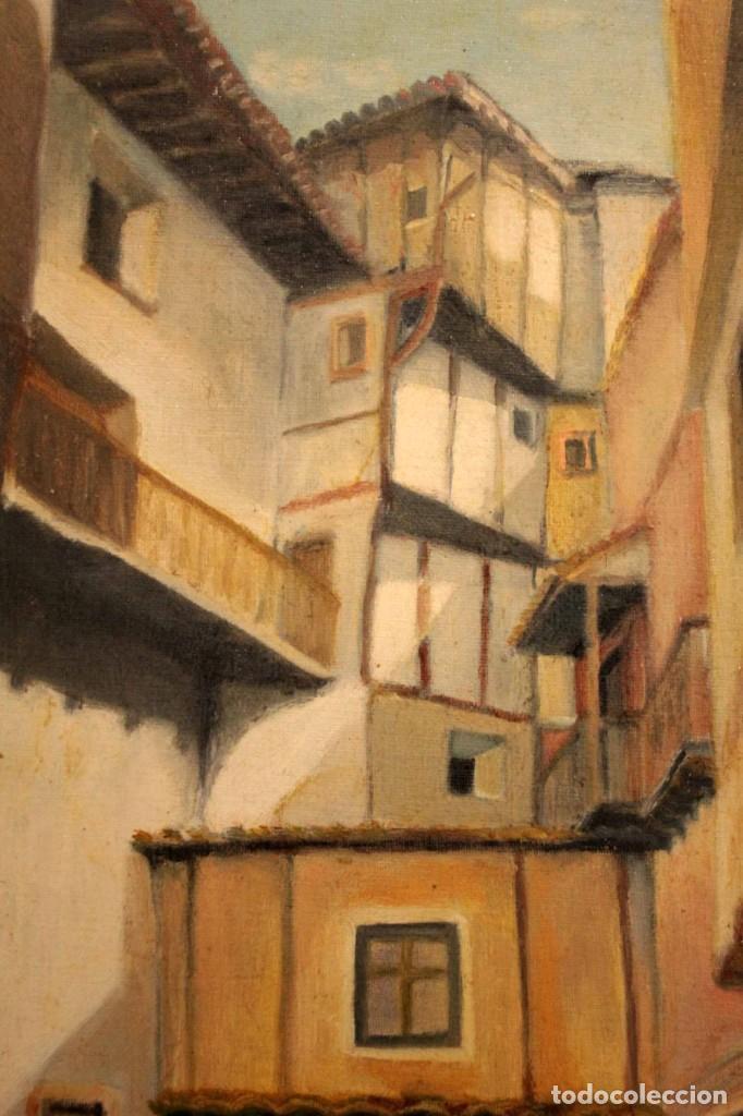 Arte: Vista de calle. Oleo sobre lienzo. Firmado Carlos Jorda. Enmarcado 48x41cm - Foto 3 - 243383290