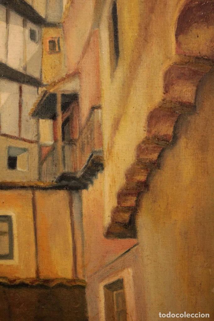 Arte: Vista de calle. Oleo sobre lienzo. Firmado Carlos Jorda. Enmarcado 48x41cm - Foto 4 - 243383290