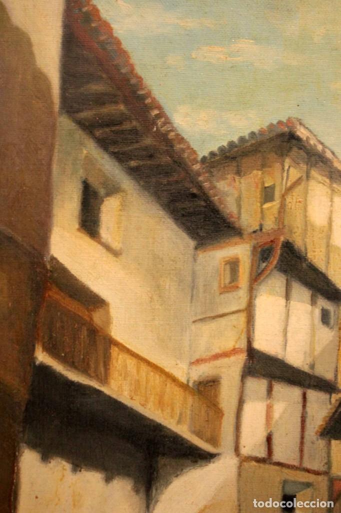 Arte: Vista de calle. Oleo sobre lienzo. Firmado Carlos Jorda. Enmarcado 48x41cm - Foto 5 - 243383290