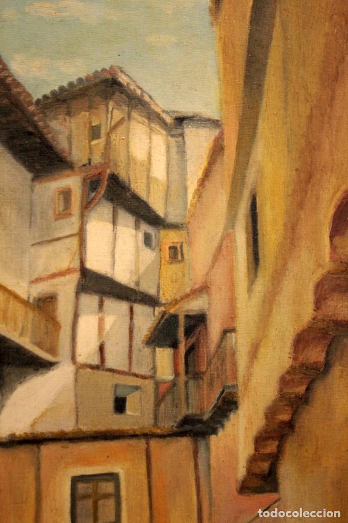 Arte: Vista de calle. Oleo sobre lienzo. Firmado Carlos Jorda. Enmarcado 48x41cm - Foto 6 - 243383290