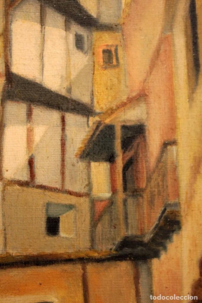 Arte: Vista de calle. Oleo sobre lienzo. Firmado Carlos Jorda. Enmarcado 48x41cm - Foto 7 - 243383290