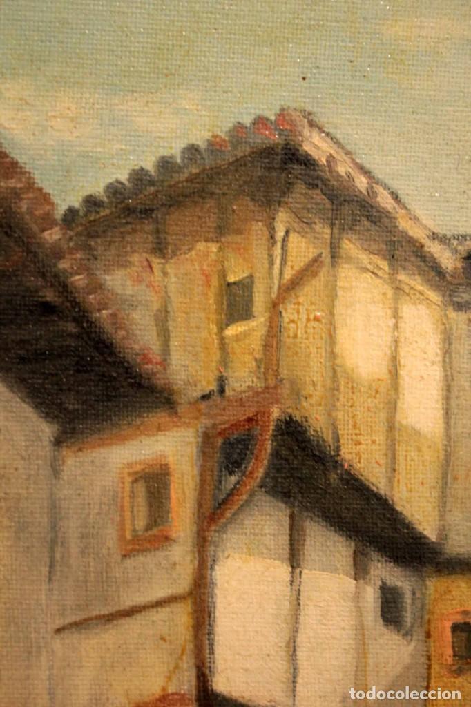 Arte: Vista de calle. Oleo sobre lienzo. Firmado Carlos Jorda. Enmarcado 48x41cm - Foto 8 - 243383290