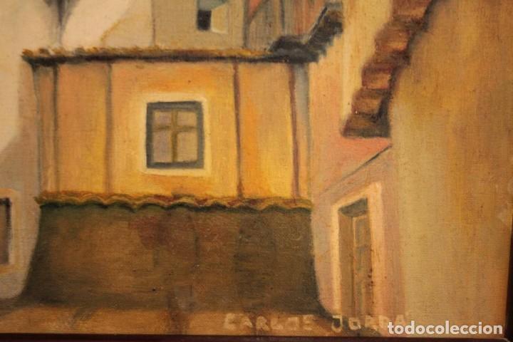 Arte: Vista de calle. Oleo sobre lienzo. Firmado Carlos Jorda. Enmarcado 48x41cm - Foto 9 - 243383290