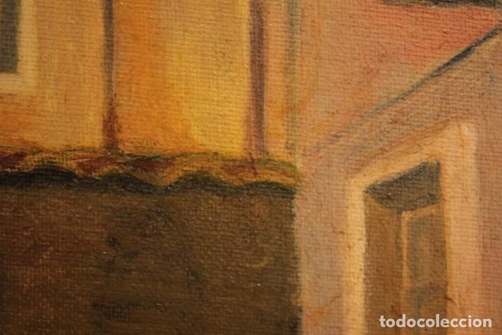 Arte: Vista de calle. Oleo sobre lienzo. Firmado Carlos Jorda. Enmarcado 48x41cm - Foto 10 - 243383290