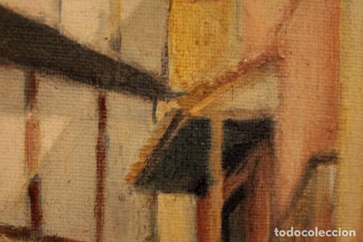 Arte: Vista de calle. Oleo sobre lienzo. Firmado Carlos Jorda. Enmarcado 48x41cm - Foto 11 - 243383290