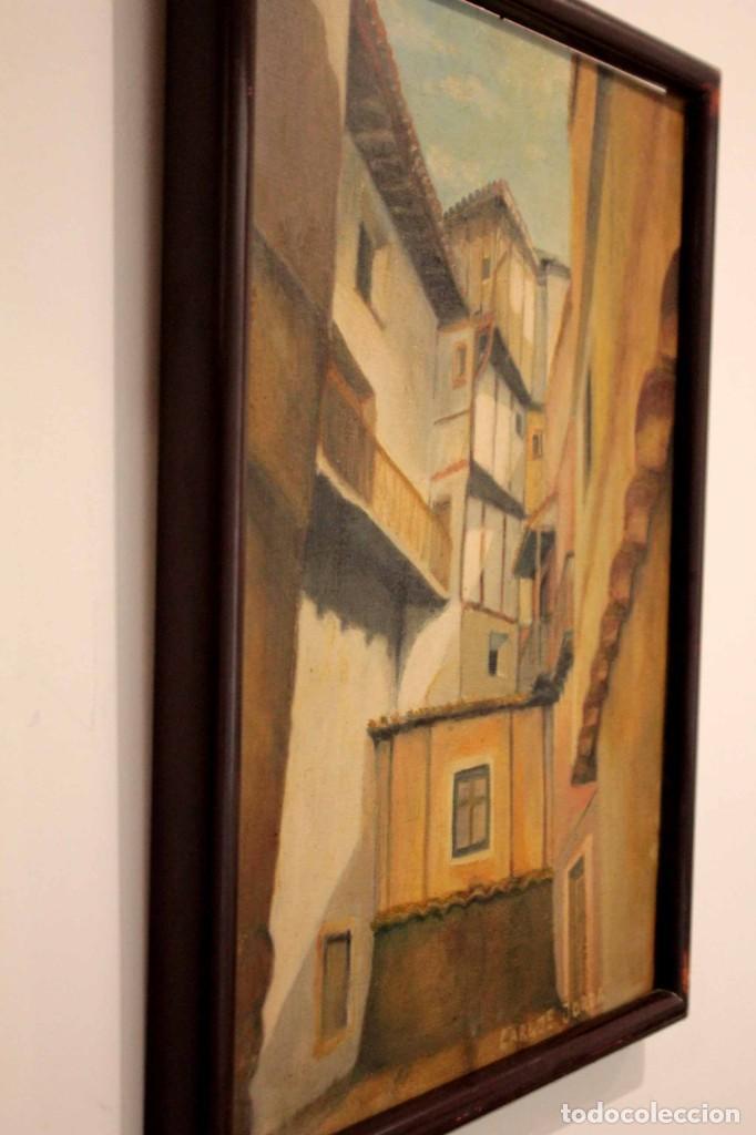 Arte: Vista de calle. Oleo sobre lienzo. Firmado Carlos Jorda. Enmarcado 48x41cm - Foto 12 - 243383290