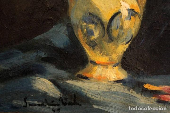 Arte: Jarrón con flores. Oleo de gran calidad, firma ilegible. Enmarcado 50x42cm - Foto 10 - 243383870