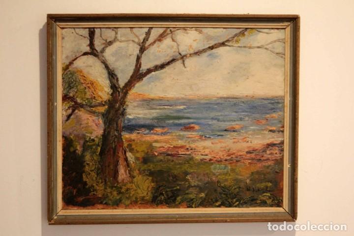 Arte: Marina expresionista, paisaje pintado al oleo. Buena factura. Mediados del s.XX. Enmarcado 46x39cm - Foto 2 - 243384370