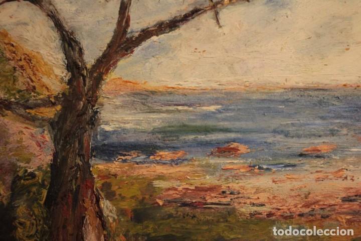Arte: Marina expresionista, paisaje pintado al oleo. Buena factura. Mediados del s.XX. Enmarcado 46x39cm - Foto 3 - 243384370