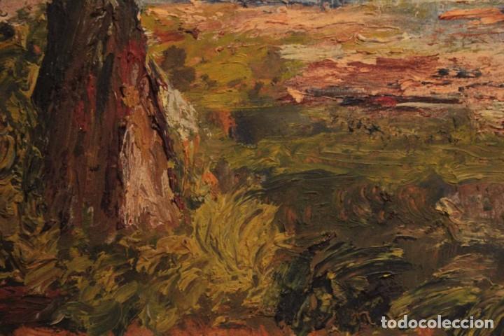 Arte: Marina expresionista, paisaje pintado al oleo. Buena factura. Mediados del s.XX. Enmarcado 46x39cm - Foto 4 - 243384370