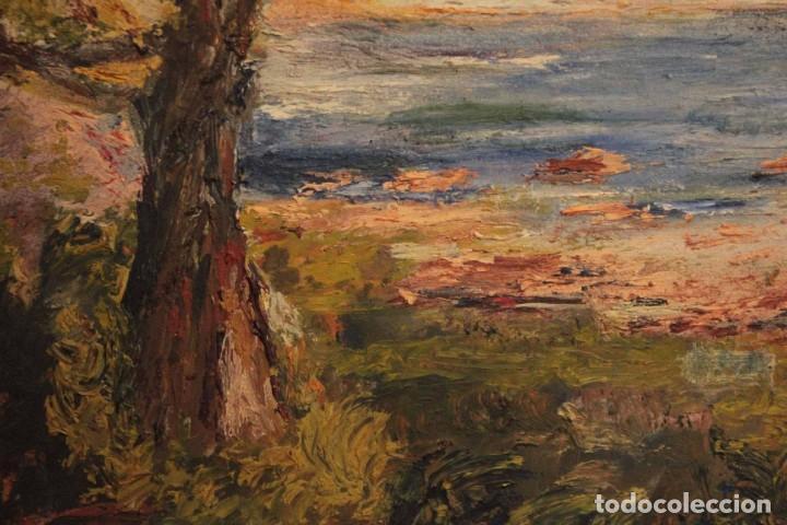Arte: Marina expresionista, paisaje pintado al oleo. Buena factura. Mediados del s.XX. Enmarcado 46x39cm - Foto 5 - 243384370