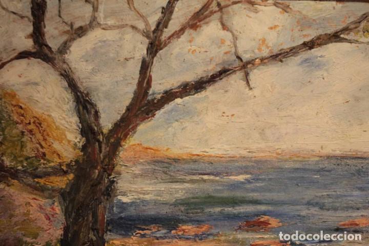 Arte: Marina expresionista, paisaje pintado al oleo. Buena factura. Mediados del s.XX. Enmarcado 46x39cm - Foto 7 - 243384370