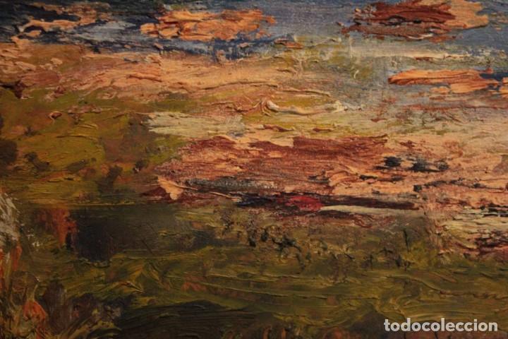 Arte: Marina expresionista, paisaje pintado al oleo. Buena factura. Mediados del s.XX. Enmarcado 46x39cm - Foto 8 - 243384370