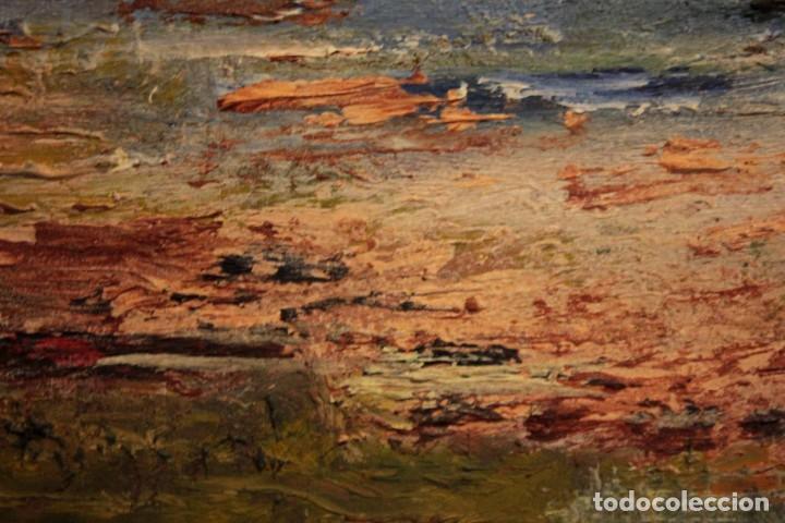 Arte: Marina expresionista, paisaje pintado al oleo. Buena factura. Mediados del s.XX. Enmarcado 46x39cm - Foto 9 - 243384370
