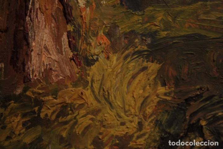 Arte: Marina expresionista, paisaje pintado al oleo. Buena factura. Mediados del s.XX. Enmarcado 46x39cm - Foto 10 - 243384370