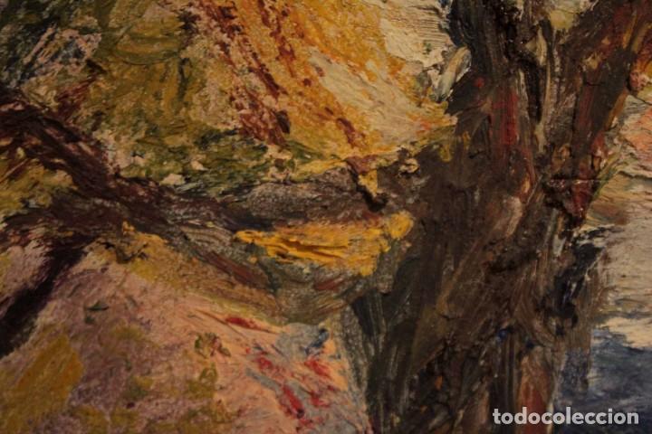 Arte: Marina expresionista, paisaje pintado al oleo. Buena factura. Mediados del s.XX. Enmarcado 46x39cm - Foto 11 - 243384370