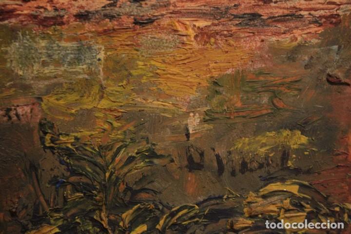 Arte: Marina expresionista, paisaje pintado al oleo. Buena factura. Mediados del s.XX. Enmarcado 46x39cm - Foto 12 - 243384370