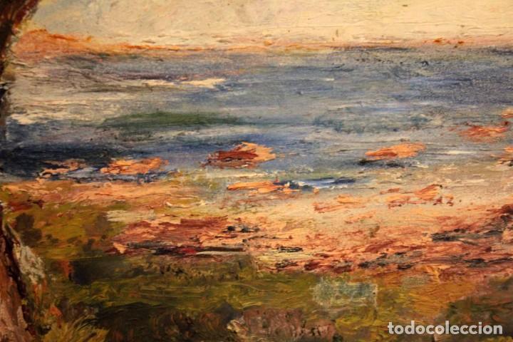 Arte: Marina expresionista, paisaje pintado al oleo. Buena factura. Mediados del s.XX. Enmarcado 46x39cm - Foto 13 - 243384370