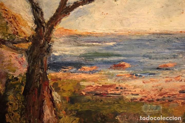 Arte: Marina expresionista, paisaje pintado al oleo. Buena factura. Mediados del s.XX. Enmarcado 46x39cm - Foto 14 - 243384370