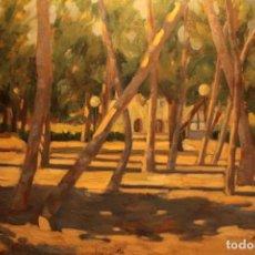 Arte: EXCEPCIONAL PAISAJE PINTADO AL OLEO. GRAN DOMINIO DE LUCES Y SOMBRAS. FIRMADO Y ENMARCADO. 95X74CM. Lote 243385030