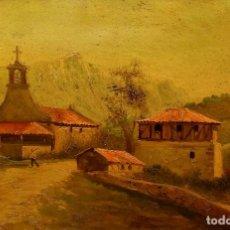 Arte: LA ERMITA DE CORONA. FIRMADO. LUIS BAYÓN. ÓLEO SOBRE CARTÓN. ESPAÑA. CIRCA 1940. Lote 243387380