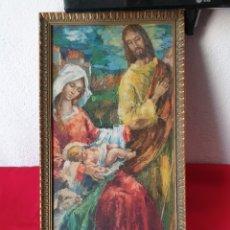 Art: ANTIGUO CUADRO MOTIVO RELIGIOSO PINTURA ÓLEO SOBRE TABLA. Lote 243399665