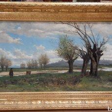 Arte: SEGUIDOR DE AURELIANO DE BERUETE. CIRCA 1882. ORILLAS DEL MANZANARES. ÓLEO SOBRE LIENZO.. Lote 243455180