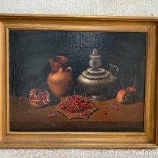 Arte: OLEO LIENZO BODEGON JARRA CEREZAS GRANADAS ESTAÑO S XIX 78X97CMS. Lote 243525950