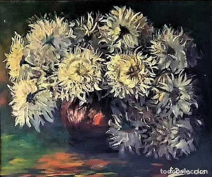 JARRON CRISANTEMOS - FRANCESC DOY (Arte - Pintura - Pintura al Óleo Antigua sin fecha definida)