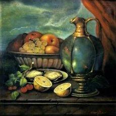 Arte: MESA CON JARRA Y FRUTOS - MIGUEL CASTILLO 1893. Lote 243578105