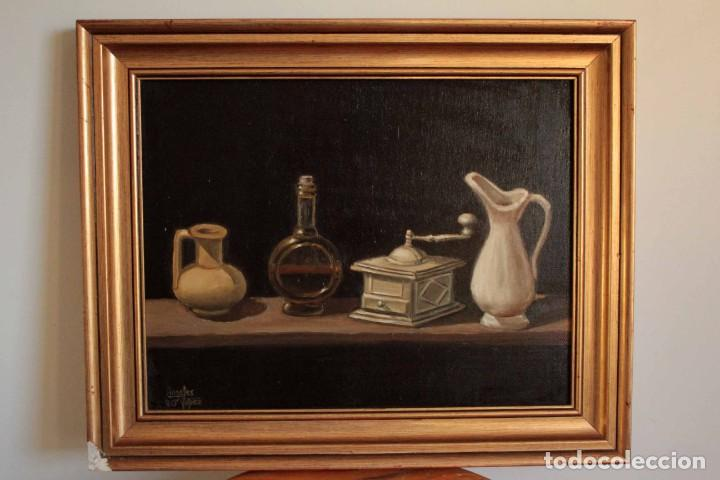 Arte: Bodegón pintado al oleo sobre lienzo. Firmado. Enmarcado 42x35cm - Foto 2 - 243578550