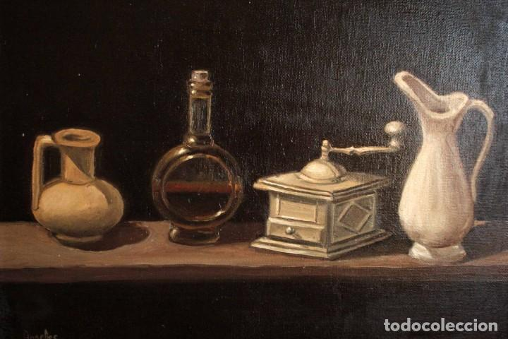 Arte: Bodegón pintado al oleo sobre lienzo. Firmado. Enmarcado 42x35cm - Foto 3 - 243578550