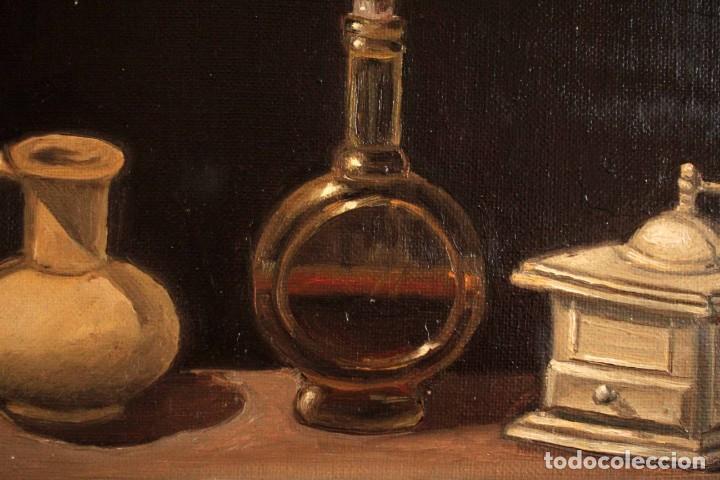 Arte: Bodegón pintado al oleo sobre lienzo. Firmado. Enmarcado 42x35cm - Foto 6 - 243578550