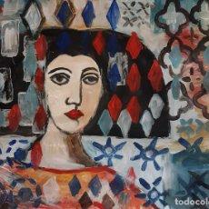 Arte: MENINA,PINTURA SOBRE CARTULINA. Lote 243665275