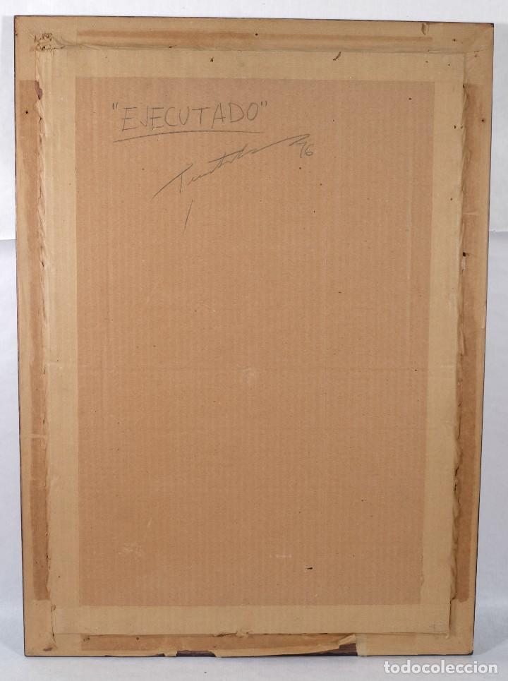 Arte: Técnica mixta sobre papel titulado El ejecutado firma ilegible en reverso 1976 - Foto 7 - 243665625