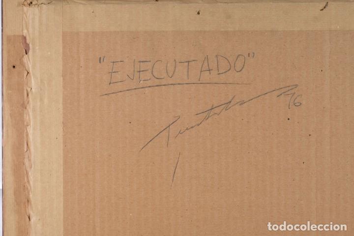 Arte: Técnica mixta sobre papel titulado El ejecutado firma ilegible en reverso 1976 - Foto 8 - 243665625