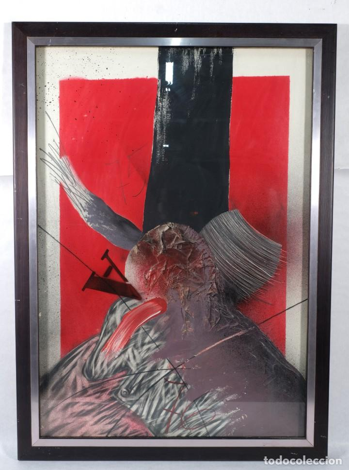 TÉCNICA MIXTA SOBRE PAPEL TITULADO EL EJECUTADO FIRMA ILEGIBLE EN REVERSO 1976 (Arte - Pintura - Pintura al Óleo Contemporánea )