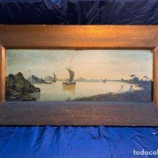 Art: MARINA, OLEO SOBRE TABLA FIRMADO POR A.FORTIN.. Lote 243758415