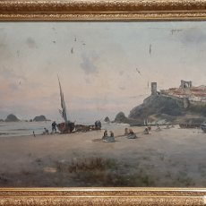 Arte: MARINA. ÓLEO SOBRE LIENZO. FIRMADO RIERA, 1905. MARCO DE ÉPOCA.. Lote 243787980