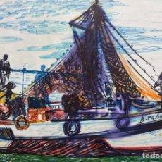 Arte: BENJAMÍN PALENCIA (ALBACETE 1894 - MADRID 1980). LA BARCA DE BENJAMÍN. DIBUJO ACUARELADO.. Lote 243791320