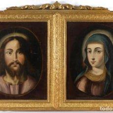Arte: ÓLEOS SOBRE LIENZO IMAGEN DE CRISTO Y VIRGEN SIGLO XVIII. Lote 243865640