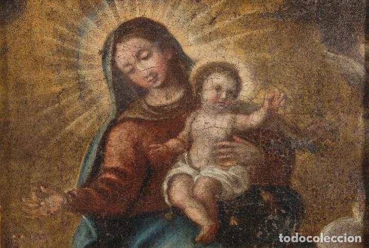 ÓLEO SOBRE LIENZO VIRGEN CON NIÑO SIGLO XVII (Arte - Pintura - Pintura al Óleo Antigua siglo XVII)