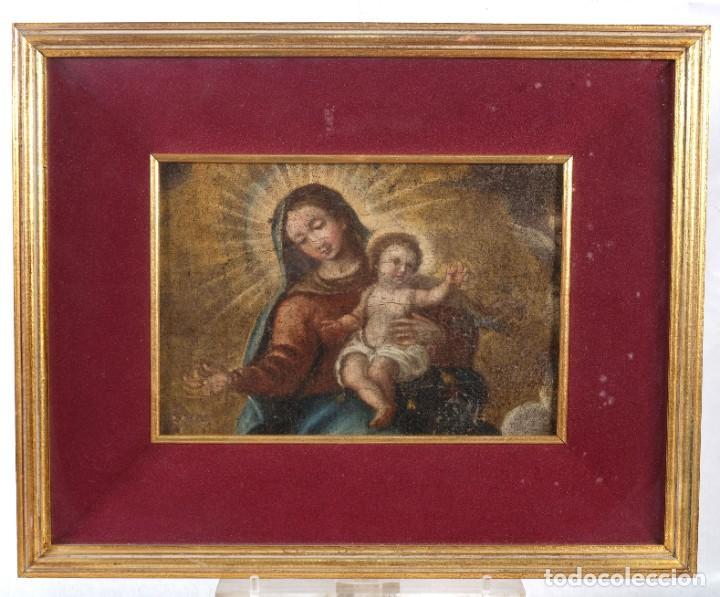 Arte: Óleo sobre lienzo Virgen con niño siglo XVII - Foto 2 - 243865680