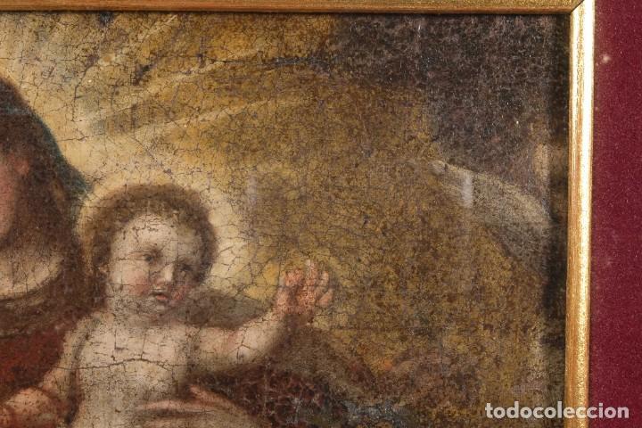 Arte: Óleo sobre lienzo Virgen con niño siglo XVII - Foto 3 - 243865680