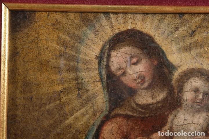 Arte: Óleo sobre lienzo Virgen con niño siglo XVII - Foto 4 - 243865680