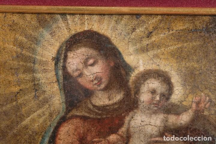 Arte: Óleo sobre lienzo Virgen con niño siglo XVII - Foto 5 - 243865680